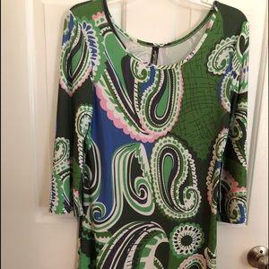 Dresses & Skirts - Women's size M green block print dress NWT
